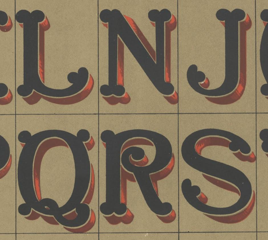 N. Glaise, Lettres a Boule Fantaisie, detail from chromolithograph lettering sheet, a loose Plate (X) from (what I think is) Bibliotheque Du Peintre En Batiment, Modeles De Lettres Sur Vingt Tons De Fonds Differents, published by Emile Thezard, Paris, 1901