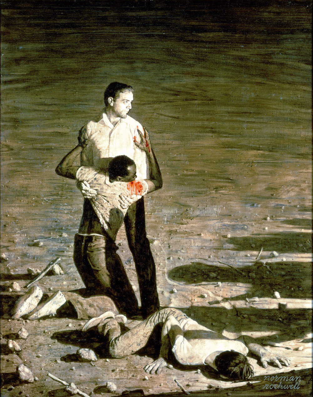 "Norman Rockwell, Murder in Mississippi, story illustration for ""Southern Justice,"" Look magazine, June 29, 1965."
