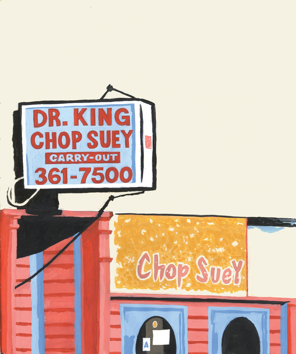 "D.B. Dowd,   North Side Chop Suey  , 2011, goauche painting for ""Shanghai Pictorial,""   Spartan Holiday   No.1, 2012."