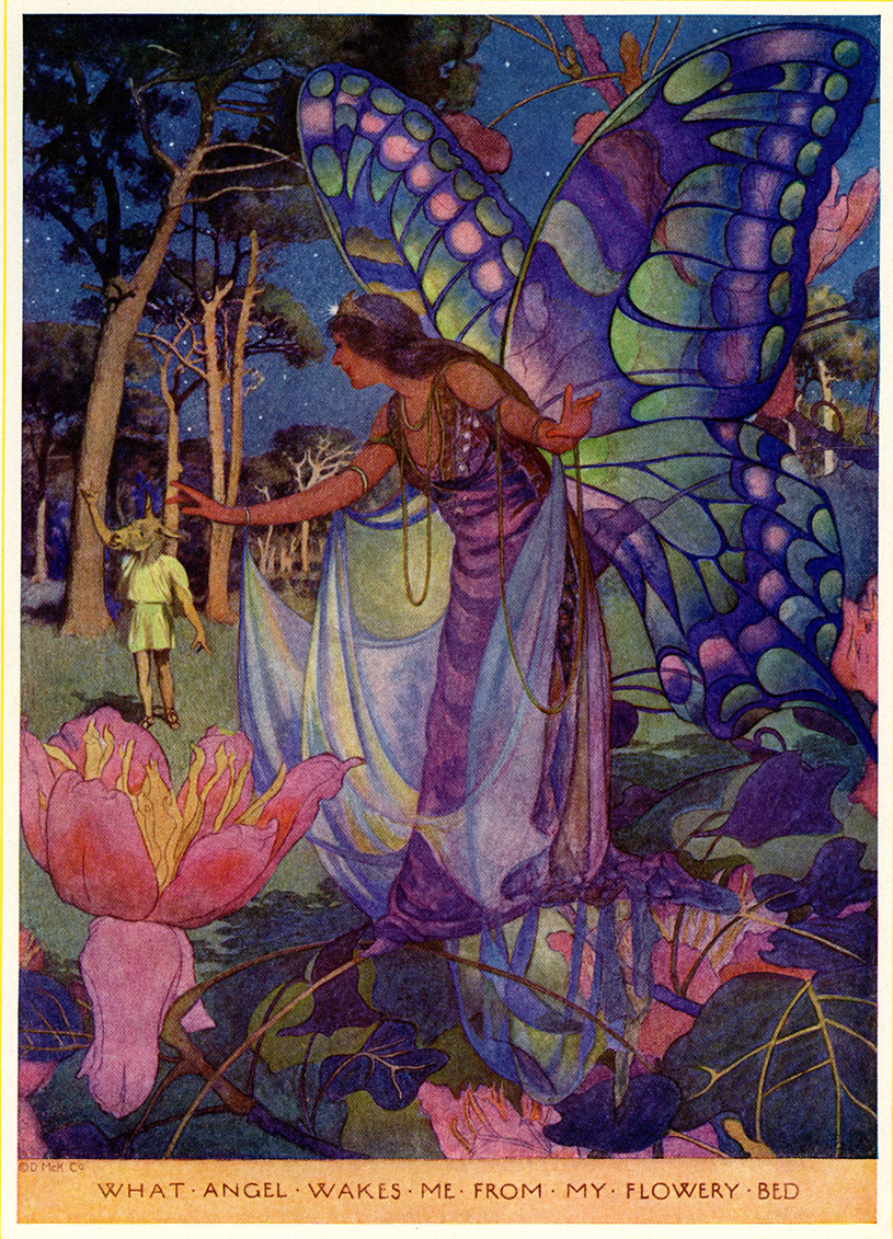 Elizabeth Shippen Green, What angel wakes me from my flowery bed, illustration for a tale from A Midsummer Night's Dream in Tales From Shakespeare by Charles and Mary Lamb, 1922. (Note Bottom with an ass head back left.)