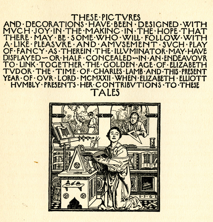 Elizabeth Shippen Green, illustrator's note with self-portrait in Tales From Shakespeare. I find this is quite charming.