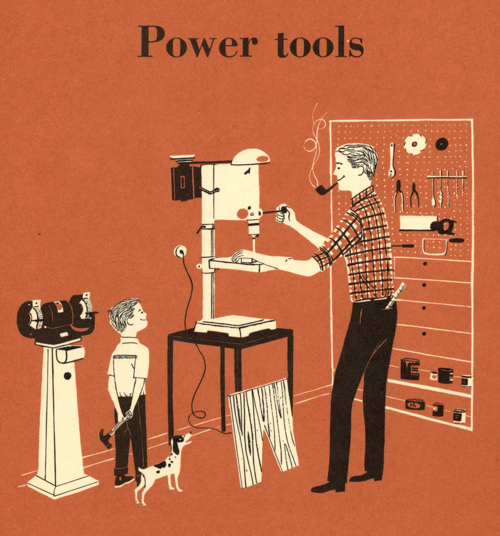 Illustrator uncredited,  Power Tools , section divider illustration,  Better Homes & Gardens Handyman's Book , Meredith Corporation, 1957.