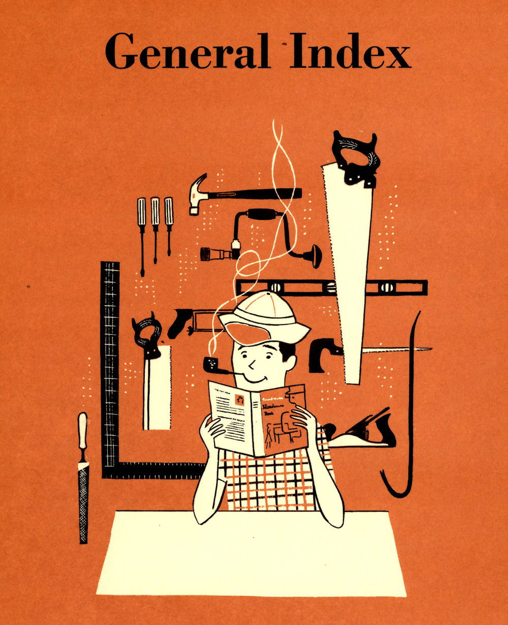 Illustrator uncredited,  General Index , section divider illustration,  BH & G Handyman's Book , 1957.