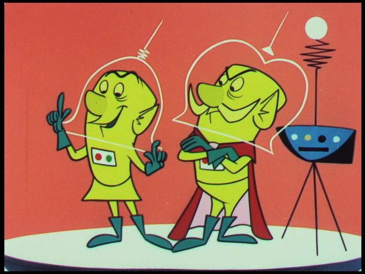 Colonel Cosmic and Ogg the Great, still from Destination Earth, 1956.