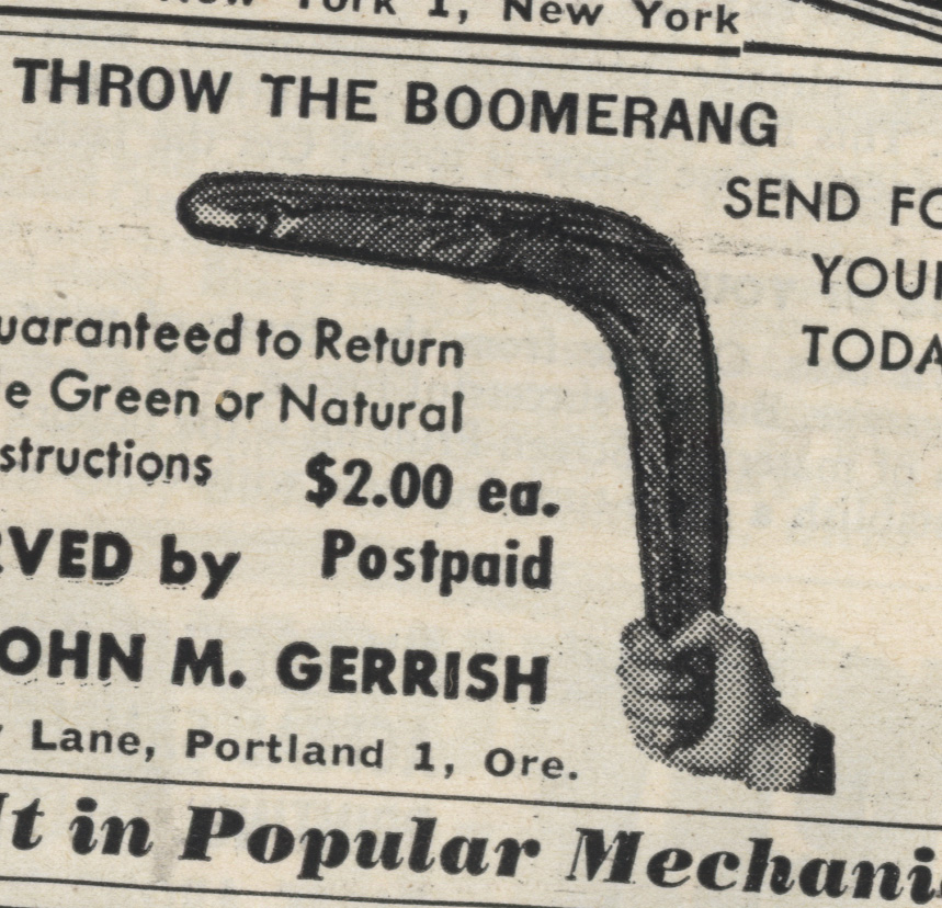 The Boomerang: a metaphor for our times. Two bucks does not begin to cover it.