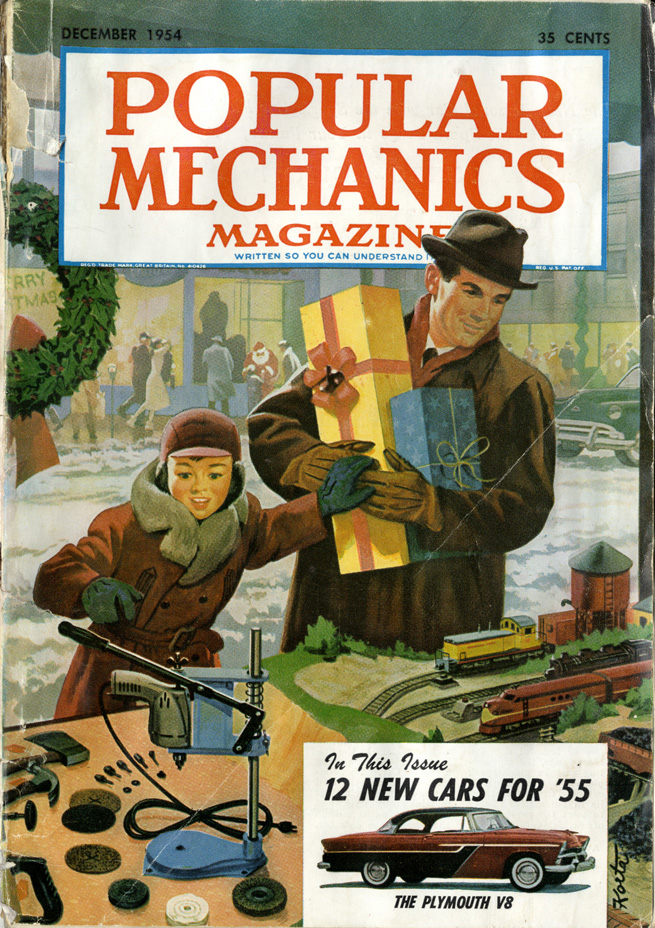 Illustrator credit unavailable, cover illustration,  Popular Mechanics,  December 1954. Window-shopping at Christmastime. Dad is checking out the model trains; Junior is jonesing a drill and rotary sander set.