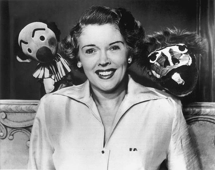 Fran Allison with Ollie (left) and Kukla (right) from  Kukla, Fran and Ollie  television program, circa 1950.