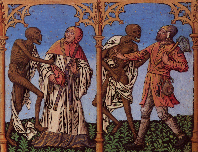 Artist unknown,  Danse Macabre , hand-colored woodcut, Northern Europe, circa 1500.