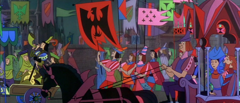 Procession scene, Sleeping Beauty, Walt Disney Studios, 1959. Eyvind Earle was responsible for background paintings and the palettes on this film.