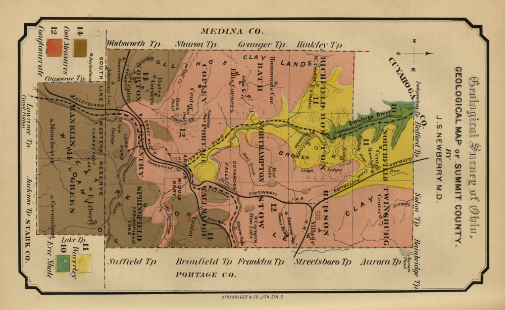 The Geology of Summit County. The yellow, pink and brown colors are printed inks; the orange is hand-applied watercolor.