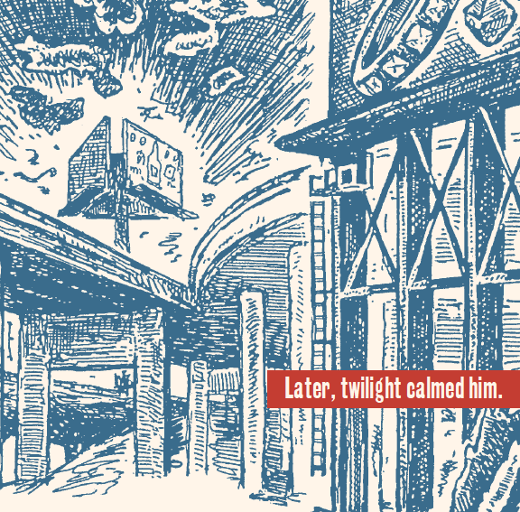 """D.B. Dowd, detail from """"Into the Wilderness,""""  Sam the Dog , Episode 65, St. Louis Post-Dispatch, August 29, 1998. Re-presented in  Trouble in Trapper City: Sam the Dog Revisited 1 , Ulcer City Publications, October 2014."""