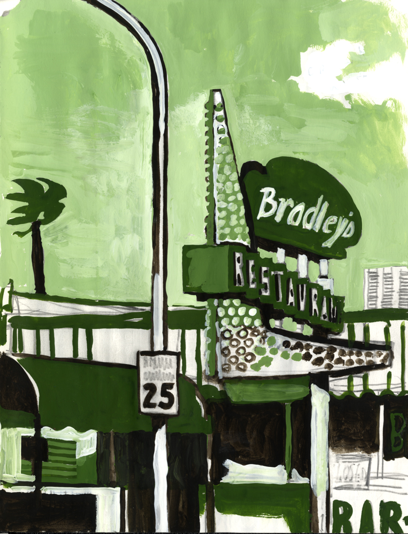 D.B. Dowd,  Bradley's Restaurant , Sketchbook Study, Boulder City, Nevada. 2008.