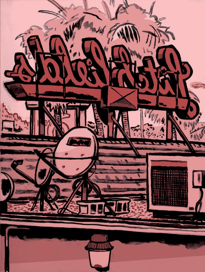 D.B. Dowd,  Motel 6, San Rafael, California , 2011. This was my warm-up piece the day I drew Mike Hirshon's wedding.