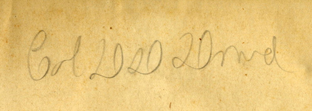 Inscription signature, Colonel D. D. Dowd, in the leaf of a family copy of The Geological Survey of Ohio. 1873. My father's namesake.