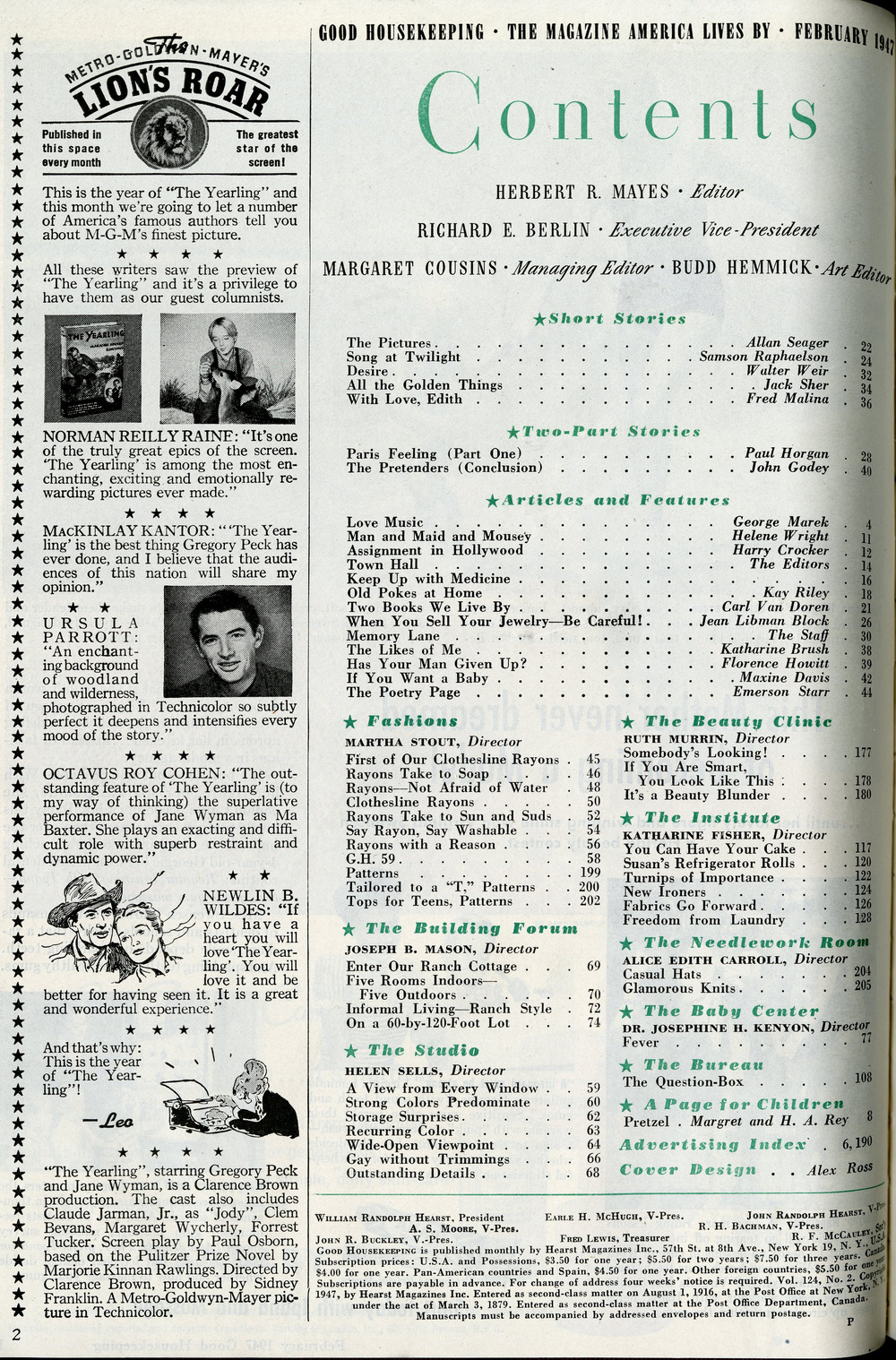 Table of Contents, Good Housekeeping, February 1947.