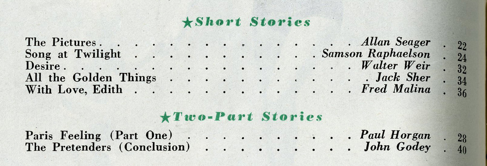 Detail, fiction sections, Table of Contents, GH.