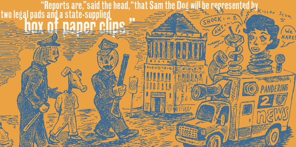 This image and the others below are spreads from  Trouble in Trapper City  and  The Ballad of Hoofer Dupree ,  Sam the Dog Revisited 1  and  2 , respectively. Copyright Ulcer City Publications 2014.