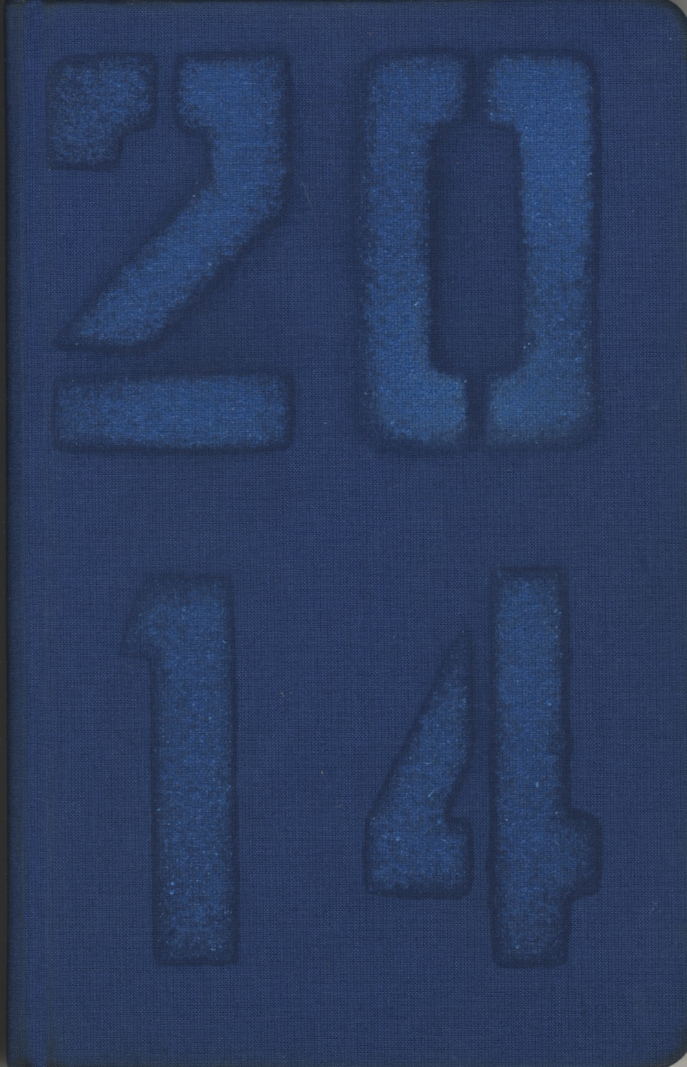 D.B. Dowd, calendar cover design, 2014. Sprayed blue-on-blue through stencils.