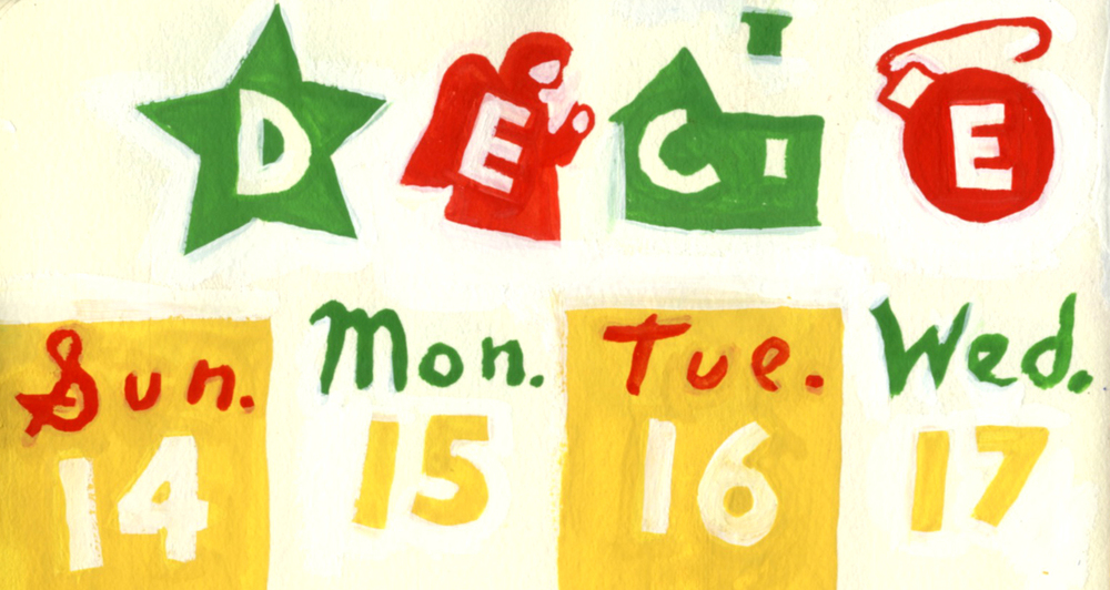 "Dowd, December 14-20, detail. I like the little ""c"" house ornament and the second ""e"" ornament."