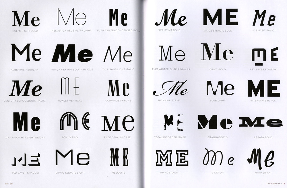 A particularly effective spread, fromthe chapter devoted to typography.