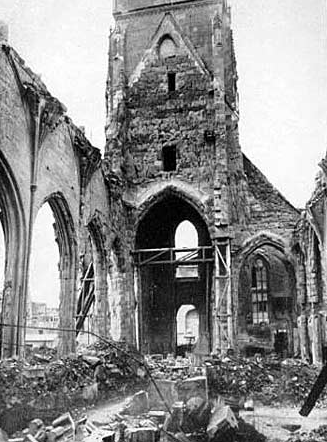The Stiftskirche after Allied bombings in May 1944.