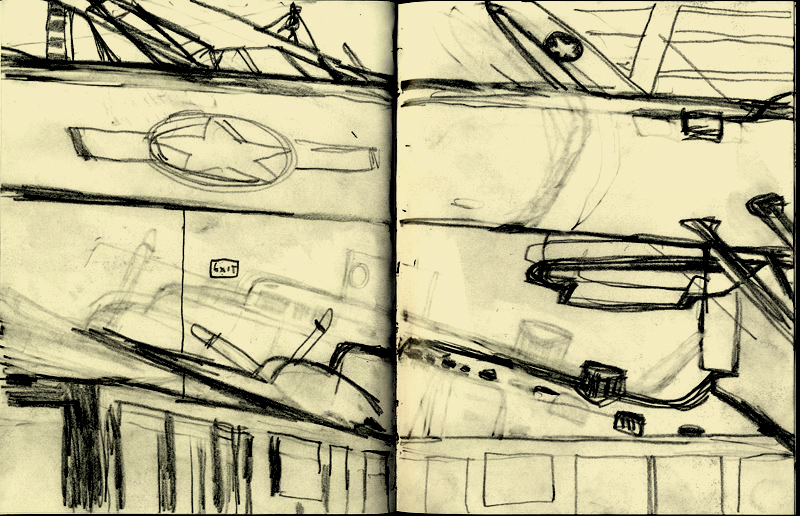 D.B. Dowd, Cargo Planes, World War II Gallery, USAF Museum. Sketchbook drawing, pencil. 2009.