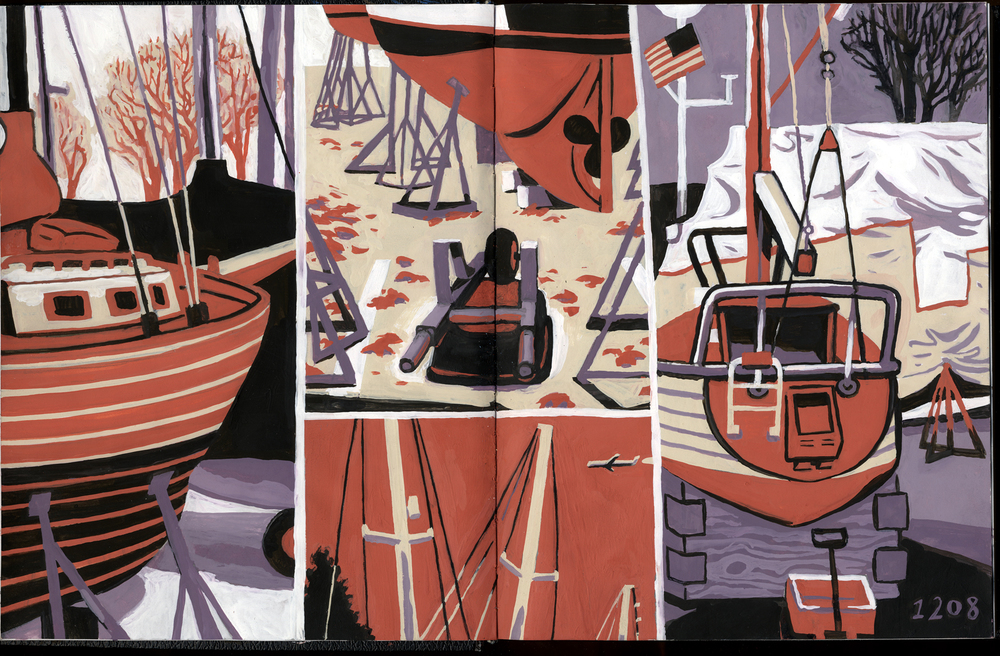 D.B. Dowd, Boats in Winter Drydock, Holland, Michigan. Sketchbook drawing, gouache over pencil. 2008. This was the drawing Dan Zettwoch asked about. What did the pencil look like before I painted it? I didn't scan it beforehand.