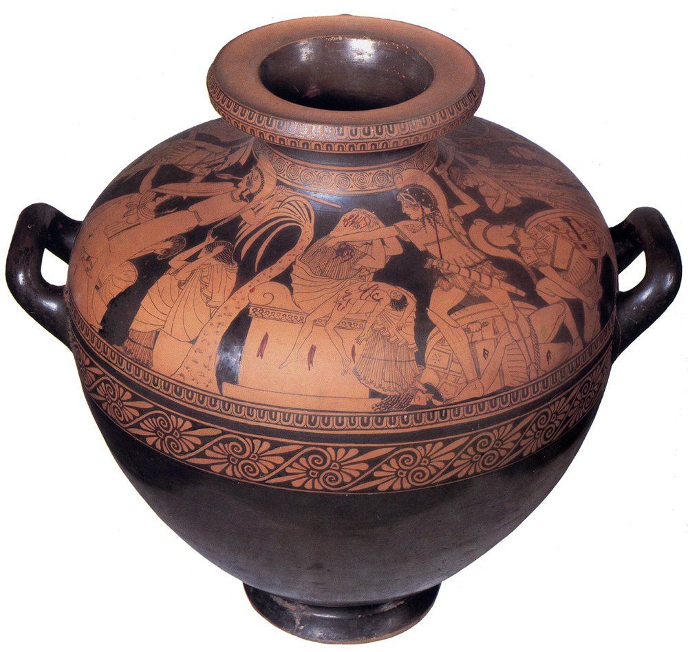 Kleophrades Painter,  Sack of Troy Hydria.  5th century BCE. This image and the two below it show the defeat of the Trojans at the hands of the Greeks: the end of Homer's  Iliad.