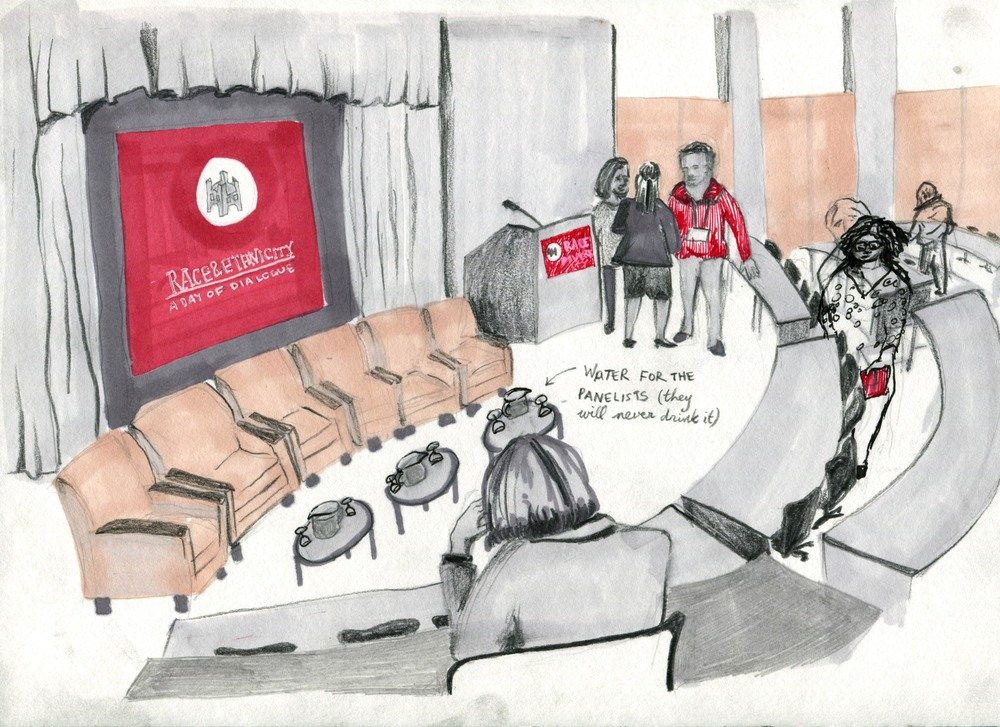 Drawing of the medical school setting before the event began by Sophia Brown. She was right; nobody every did pour a glass of water from those pitchers.