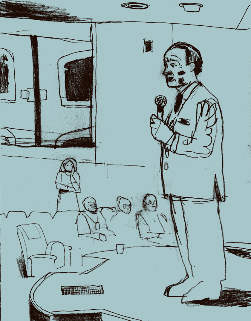 Dowd, illustration, Chancellor Wrighton Begins the Proceeedings, February 6, 2015, Emerson Auditorium, Knight Hall. The drawing started with the slowly-filling auditorium, then suddenly shifted to the figure in the double-breasted suit.