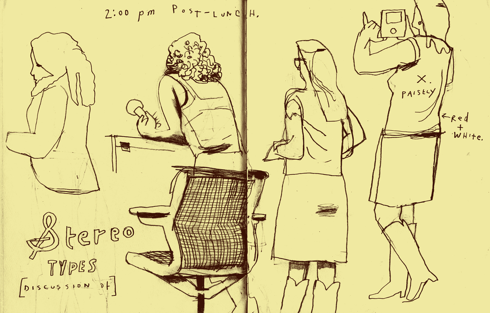 Dowd, illustration, Discussion of Stereotypes Viewed from Behind, February 6, 2015. I could have worked on this for another half hour, happily. Wanted to draw the paisley, and the constantly shifting poses of the woman on the right and just left of the page break.