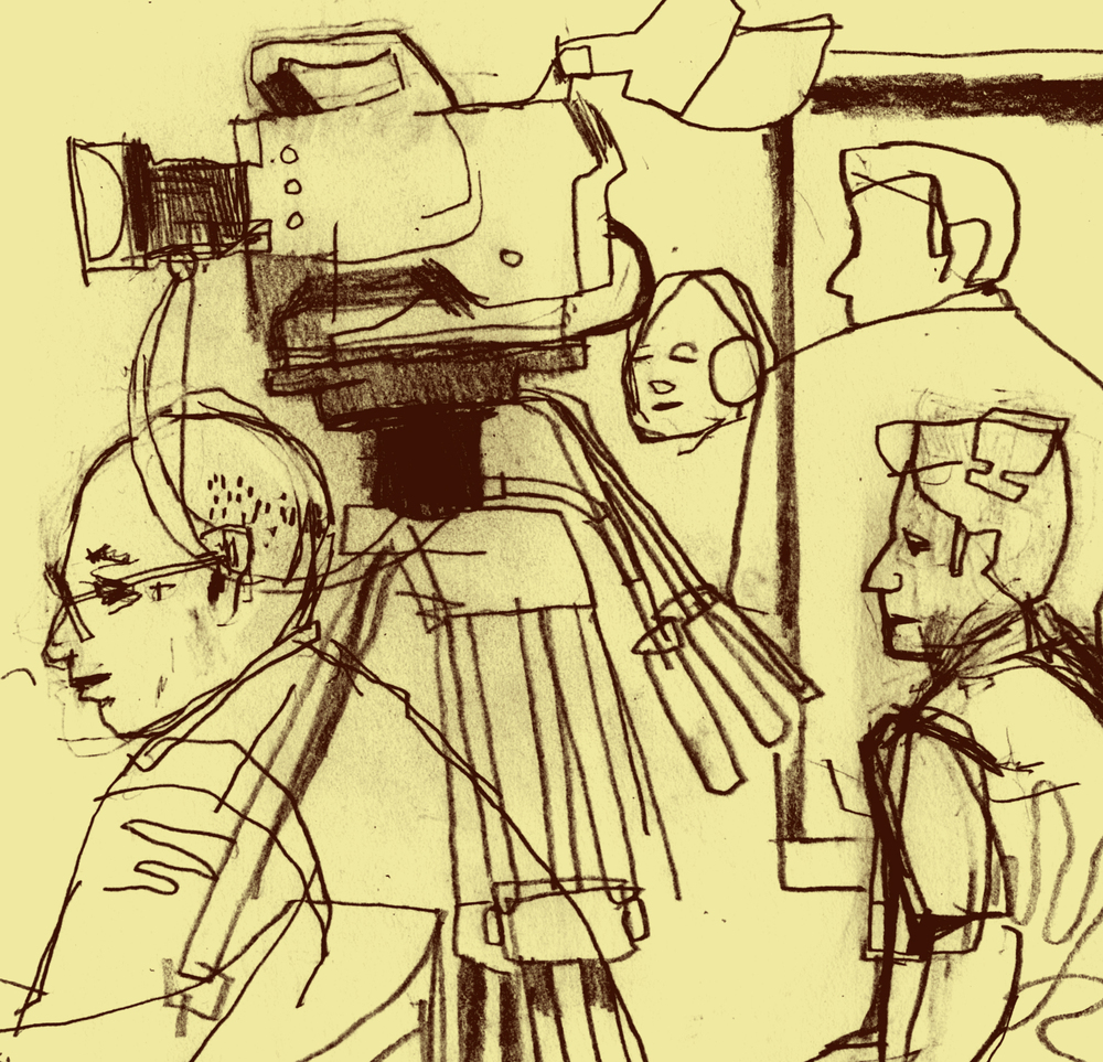 DB Dowd, illustration detail, Videographers in Emerson Auditorium, February 6, 2015.