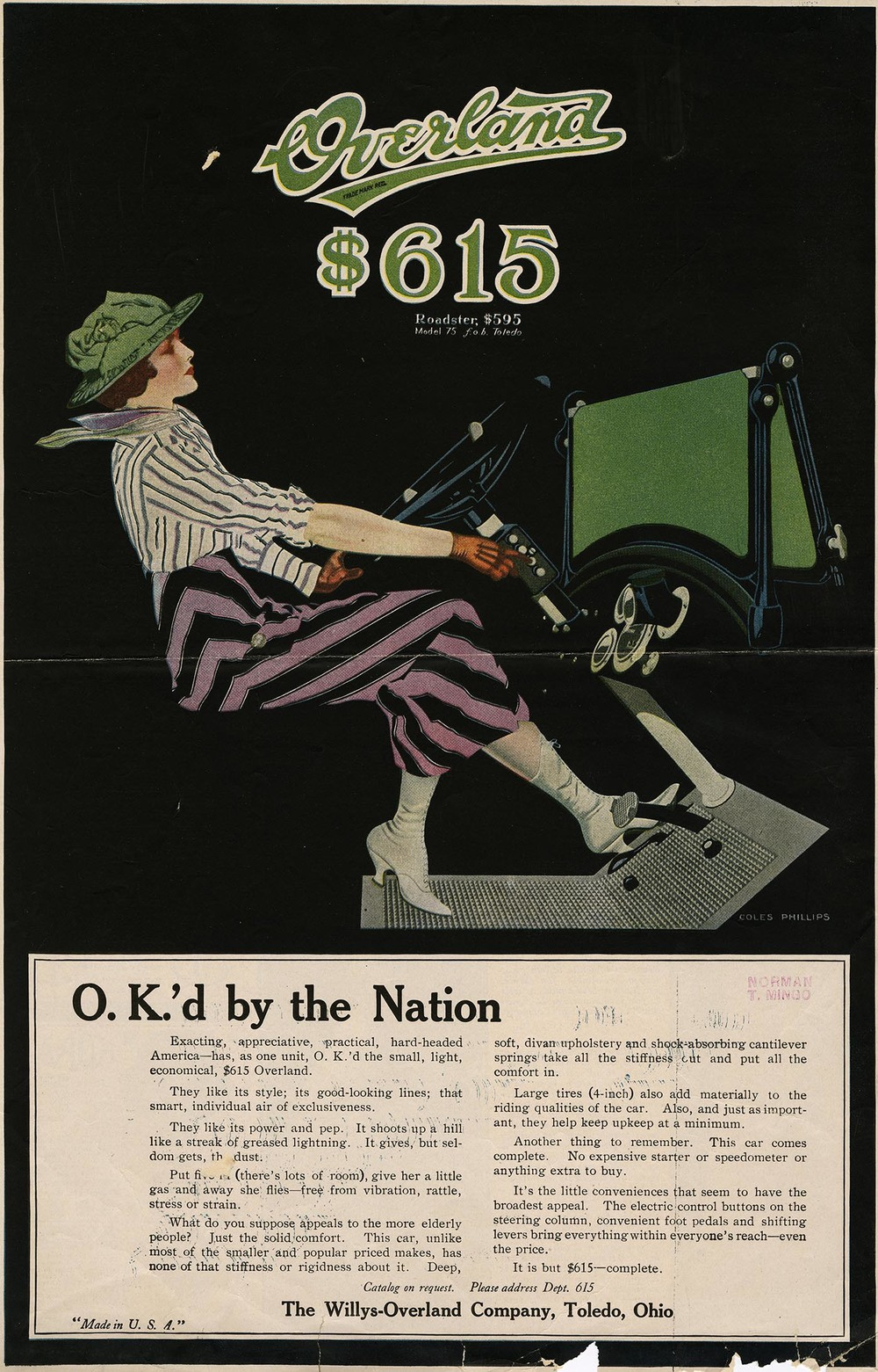 Coles Phillips, Overland Automobile advertisement, magazine tear sheet, circa 1915. Walt Reed Illustration Archive, Washington University in St. Louis.