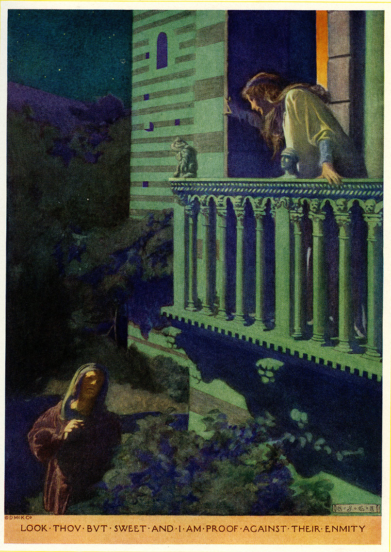 "Elizabeth Shippen Green, ""I am proof against their enmity,"" illustration for Romeo and Juliet in Charles and Mary Lamb's Tales from Shakespeare, 1922. Scanned from the book in the Walt Reed Illustration Archive, Washington University in St. Louis."