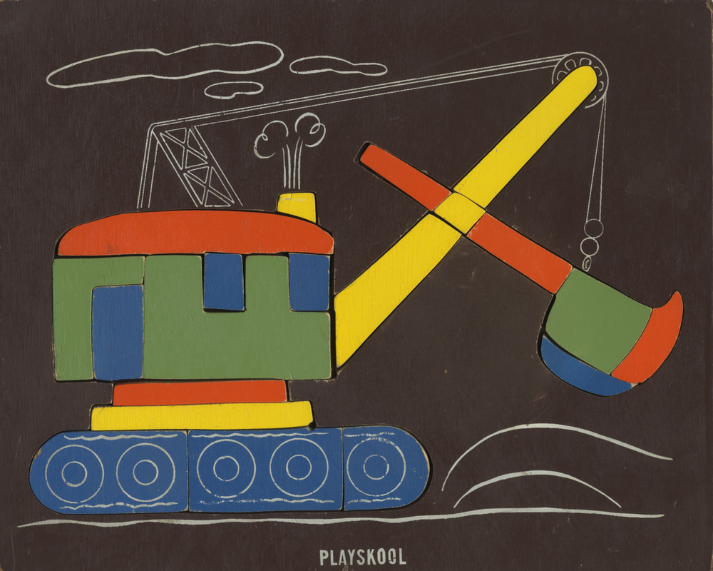 Designer unknown,  Steam Shovel ,  Playskool Wooden Puzzle, circa 1950  .  The linear passages are quite calligraphic here. A little less saturated palette. But that burnt umber color field! Such a surprising choice, and a great one. Maybe late 1940s? eBay.