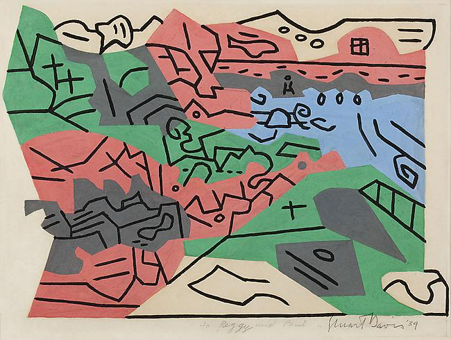 Stuart Davis,  Bass Rocks #2 , gouache on paper, 1939. The line versus edge investigation, begun in 1927, particularly, with the Egg Beater series, is applied to a seaside landscape. A major painting came of this, with a higher-keyed palette.
