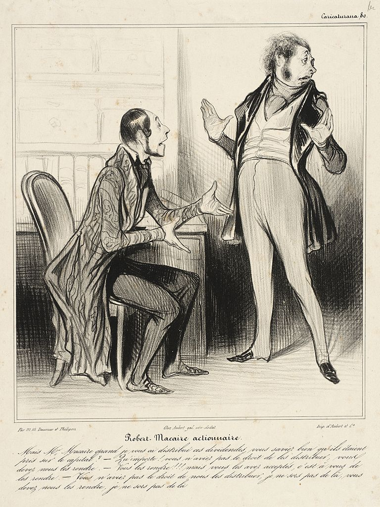 Honore Daumier,  Robert Macaire, Shareholder,  published in Le Charivari, May 13, 1838.