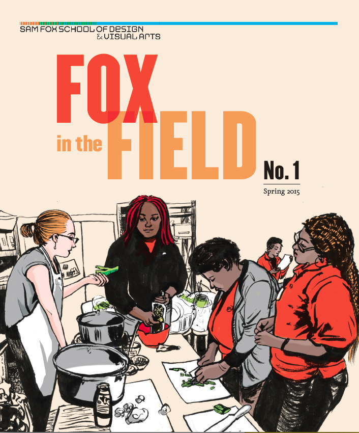 Leslie Ding, Cooking Clinic, cover illustration, Fox in the Field No. 1, published by the Sam Fox School of Design and Visual Arts.
