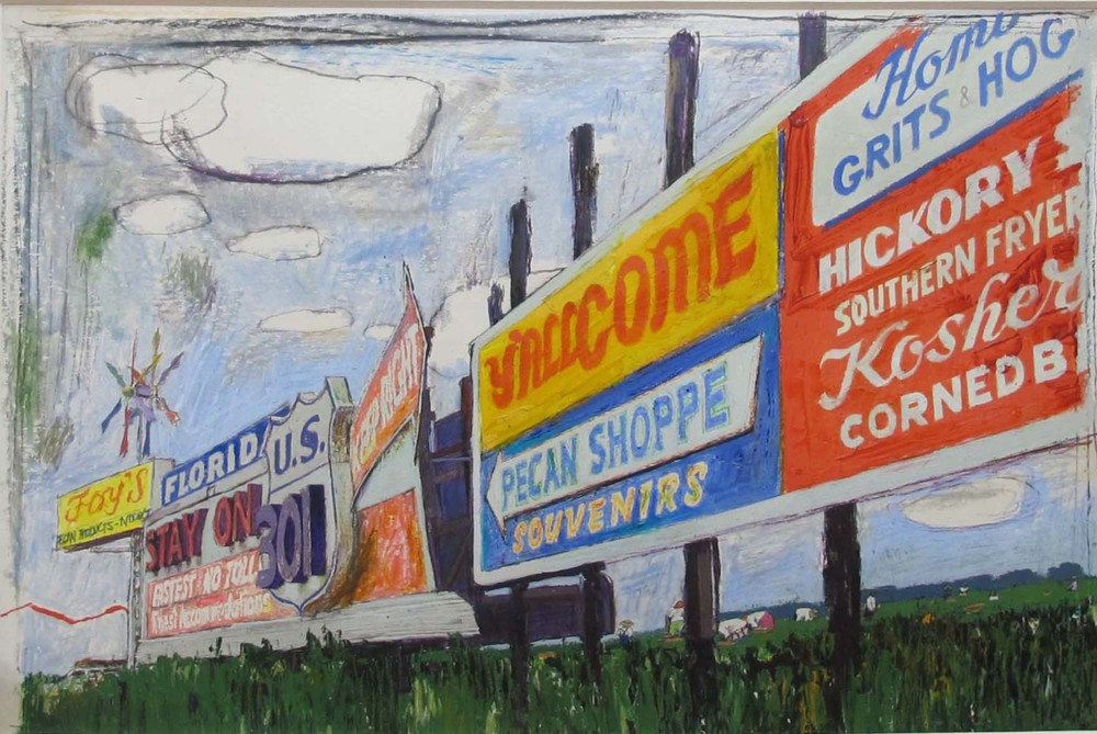 "Austin Briggs Highway Billboards with Cotton Pickers, 1965. Oil pastel and oil paint on board, Published in ""The Fast-changing South,"" written by George B. Leonard, Look, November 16, 1965. Walt Reed Illustration Archive, Modern Graphic HIstory Library, Washington University."