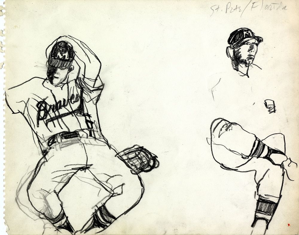 "Robert Weaver, Drawing from Spring Training Sketchbook, 1962. Research for ""Spring Training: Fresh Starts and Old Hopes,"" Sports Illustrated, March 5, 1962. Robert Weaver Collection, MGHL."