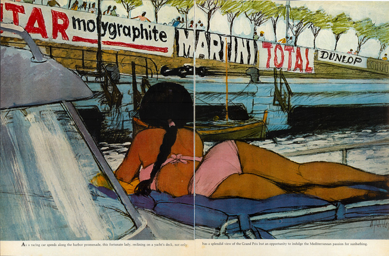 Al Parker, Girl on Boat, Monaco Grand Prix, Sports Illustrated, May 11, 1964. This was not in the show, but the crazy cut up photo collage that Parker used to invent it almost was. The space is totally made up.