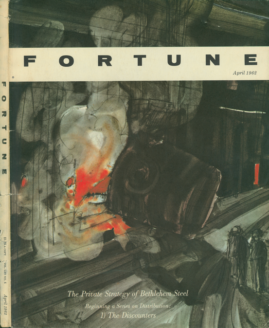 Robert Andrew Parker, The Private Strategy of Bethlehem Steel, cover illustration Fortune Magazine, April 1962. A different Parker than the one directly above, whose work is also in the Modern Graphic History Library.