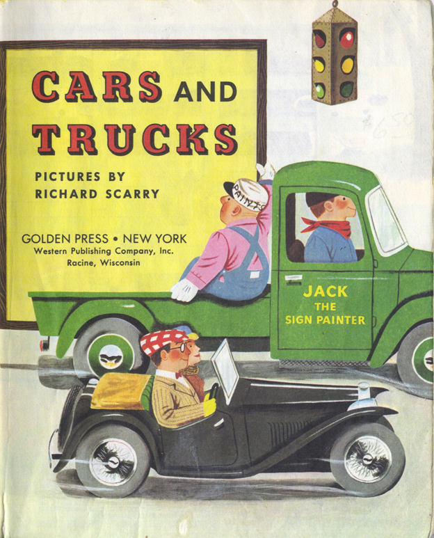Richard Scarry, Title Page,  Cars and Trucks , 1951.