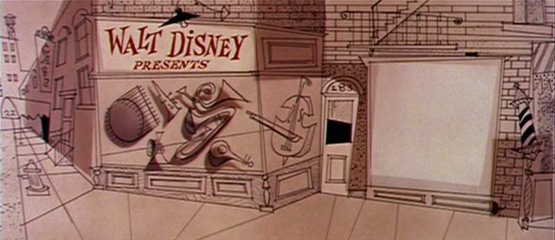 Opening title sequence shot (Cinemascope proportions), Toot Whistle Plunk & Boom, animated short Walt Disney Studios, directed by Ward Kimball and Charles A. Nichols, 1953.