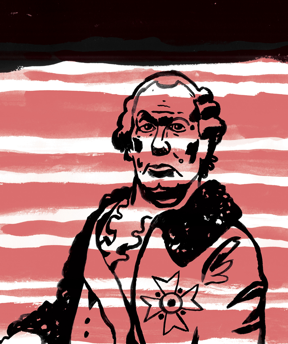 D.B. Dowd, detail, Baroque Self-Portrait, from Spartan Holiday No. 3. Yup: Professor Red in a powdered wig. Can't wait to get this project out. I think it's the best Spartan so far. Set in Paris.