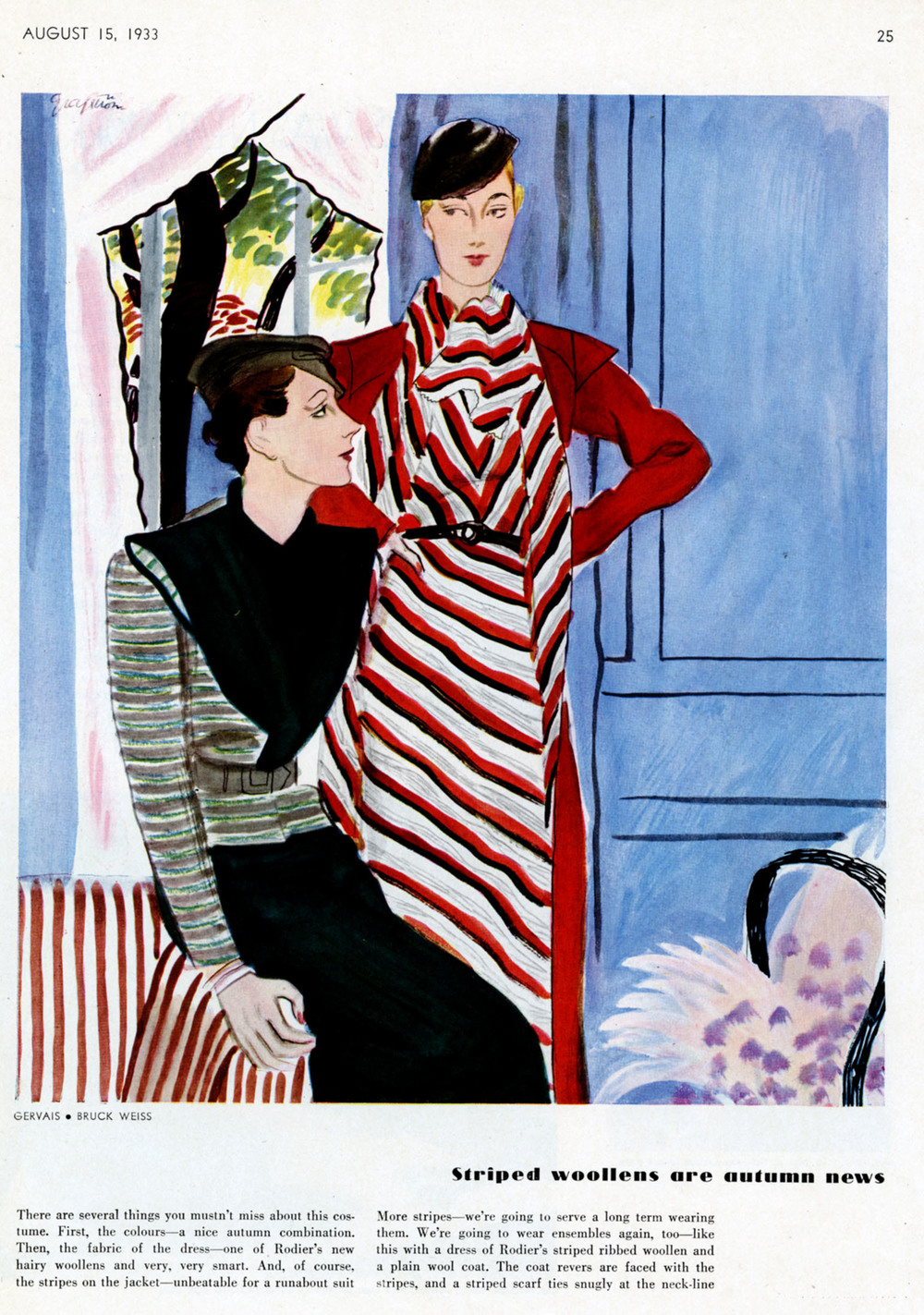 "Ruth Grafstrom, ""Striped Woollens are Autumn News"".  Vogue . August 15, 1933."