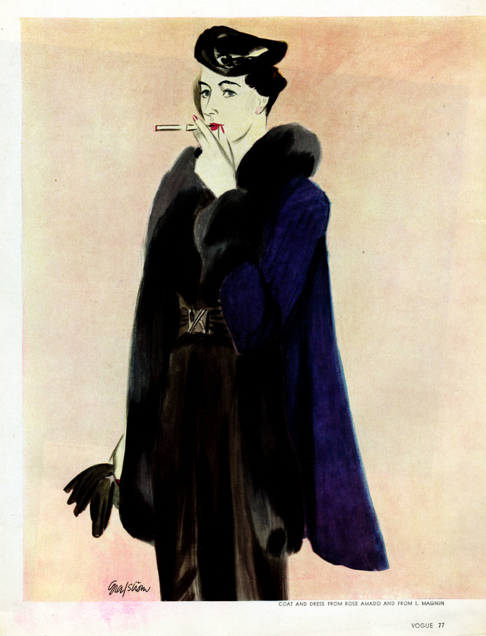 "Ruth Grafstrom, ""Coat and Dress from Rose AMado and from I. Magnin"".  Vogue . September 1, 1935."