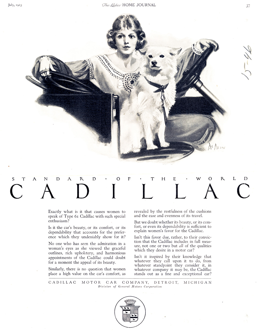 Neysa McMein, Print ad for Cadillac. The Ladies Home Journal. July 1923.