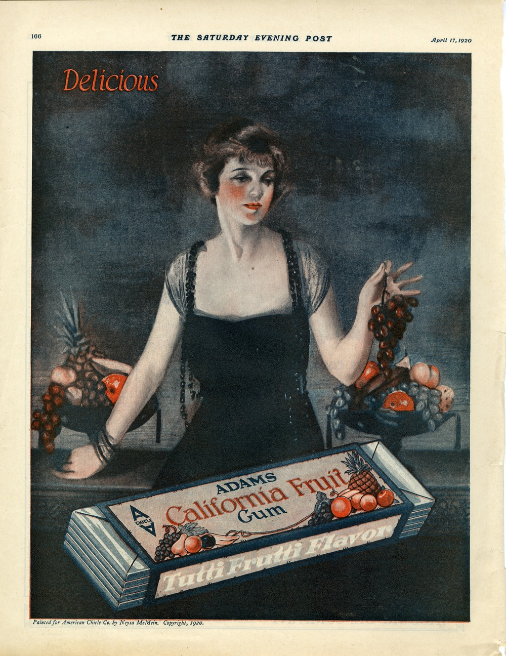 Neysa McMein, Print ad for American Chicle Company. The Saturday Evening Post. April 1920.