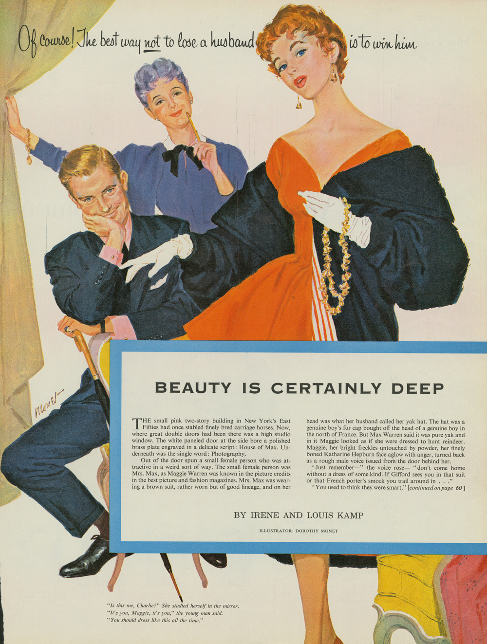 "Dorothy Monet, ""Beauty is Certainly Deep"" in the Women's Home Companion. May 1955."
